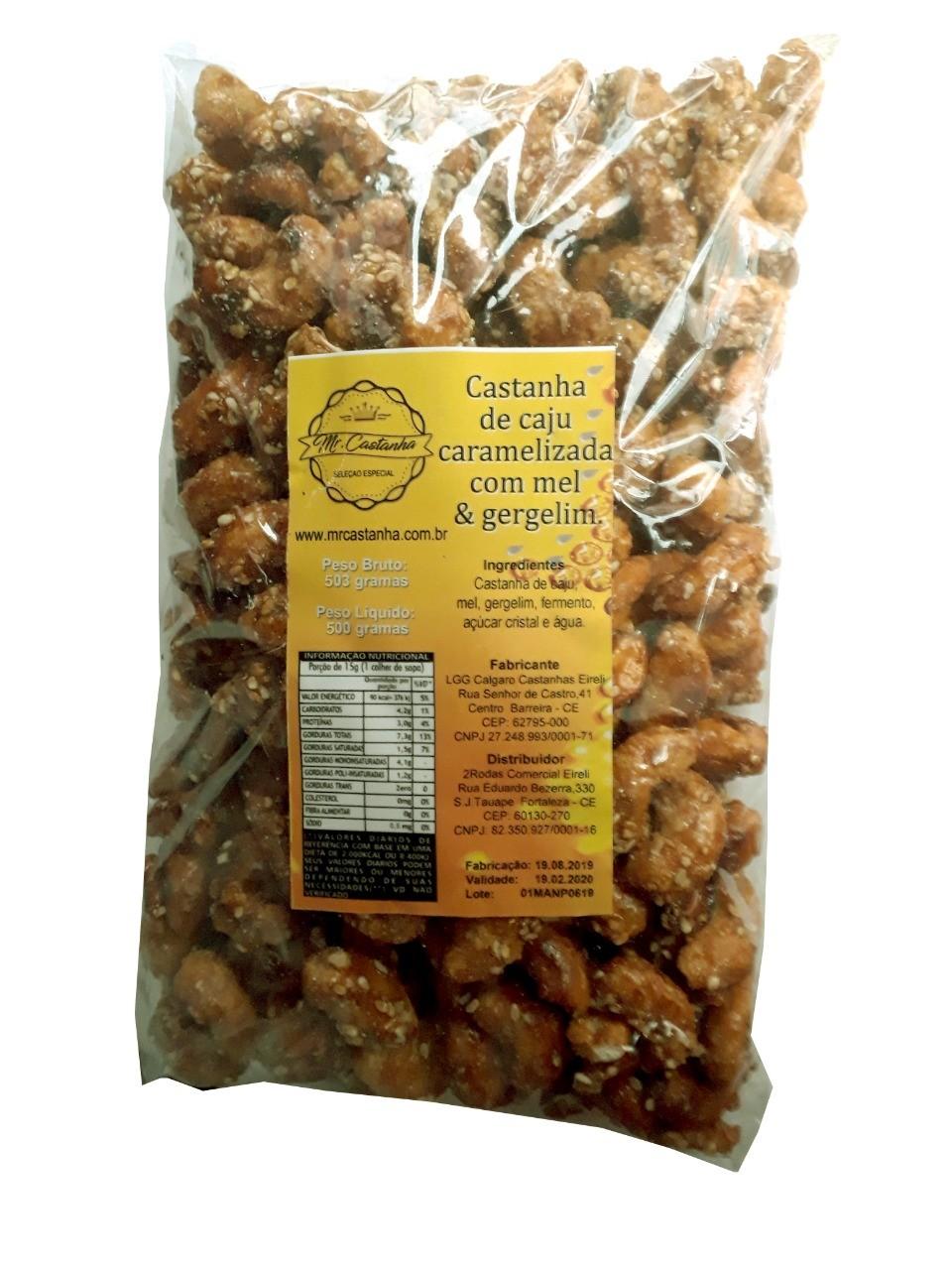 Castanha de caju inteira pacote com 500 gramas.
