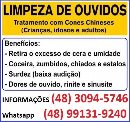 Cone Chinês-Limpeza de Ouvidos em São José SC de segunda a sábado com hora marcada