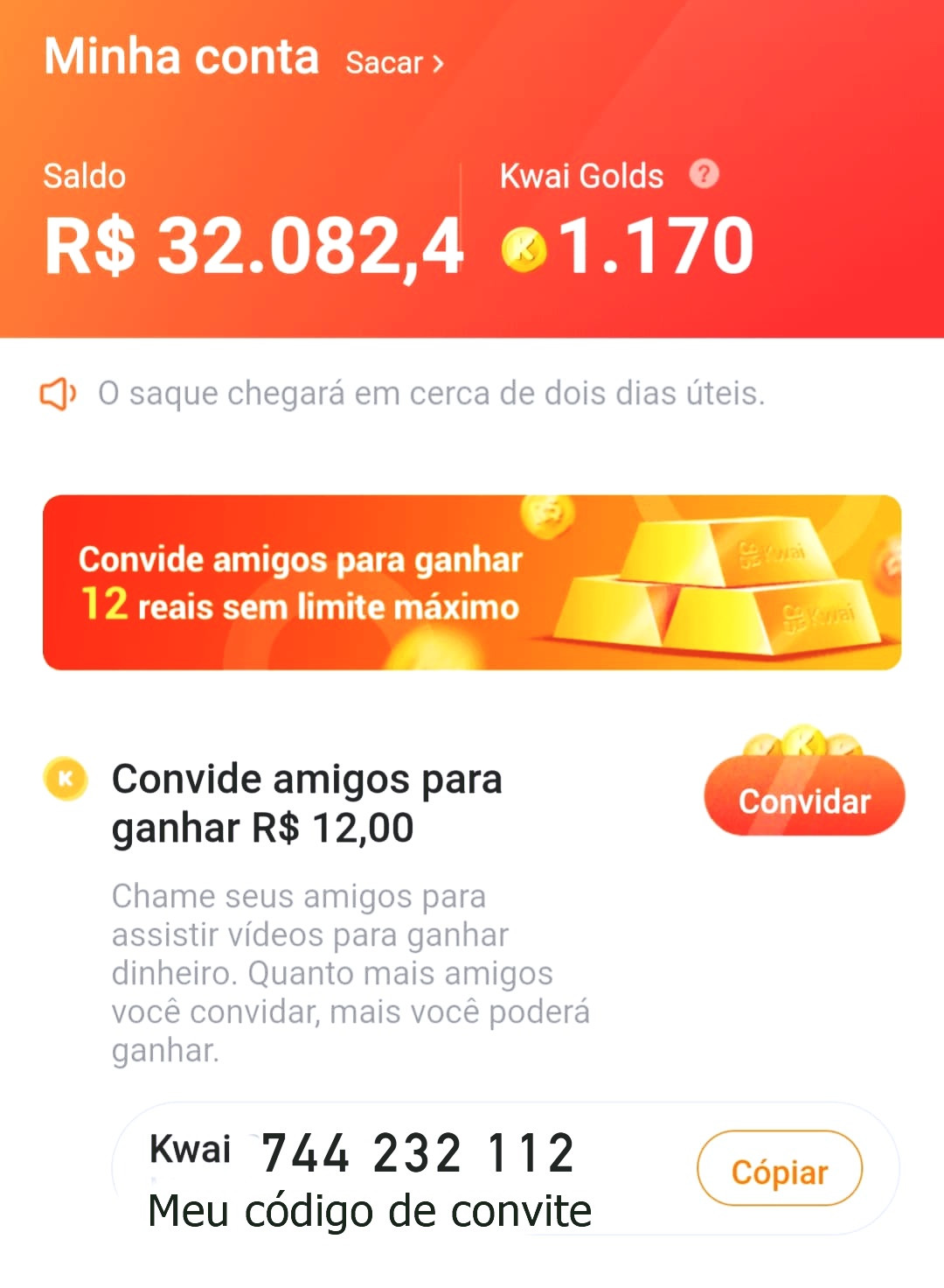 KWAI - COMO GANHAR ATÉ R$60,00 REAIS POR INDIÇÃO NO KWAI
