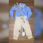 Conjunto Infantil Camisa Manga Longa Calça Color Suspensório Gravata Mocassim