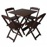 Conjunto de Mesa Dobrável com 4 cadeiras