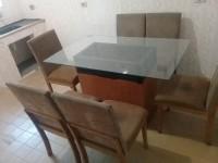 Mesa Retangular De Vidro Com 6 Cadeiras - 80 X 132