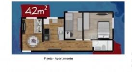 APARTAMENTO DE 2 DORMITÓRIOS, 42 M2. (área útil) EM TABOÃO DA SERRA (JARDIM SCÂNDIA)