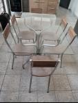 Conjunto de mesa tampo de vidro e 6 cadeiras